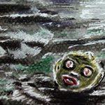 Dunkle Wasser und ein dunkles Wesen mit großen Augen, Ohren und Mund.