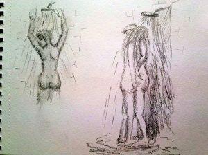 Unter der Dusche, zwei Szenen, Bleistiftskizzen.