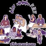Das Logo zur Aktion #DiverserLesen zeigt eine Gruppe von Menschen, die auf vielfältige Art lesen. Das Logo wurde von Illi Anna Heger als Strichzeichnung in braunen und lila Tönen erstellt. Mittig über der Menschengruppe die Buchstaben »div«, das Symbol eines akustischen Signals und in Braille-Kurzschrift das Wort »lesen«, also »l % c«.